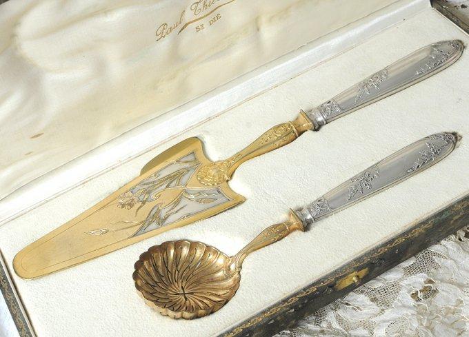 フレンチアンティークシルバー【銀950&シルバープレート】箱入りサービングセット