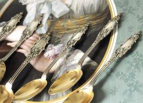フランスアンティーク銀器【純銀950】ピュイフォルカ ティースプーン6本セット