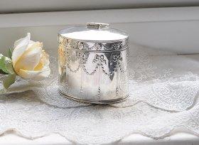 英国アンティーク銀器【純銀】リボンの小さなティーキャディ