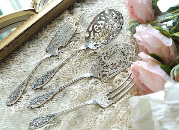 フレンチアンティークシルバー【銀950】透かしのサービング4本◆ピュイフォルカ