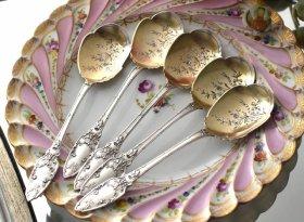 仏アンティークシルバー【銀950】リボンのアイスクリームスプーン5本 G. VEYRAT