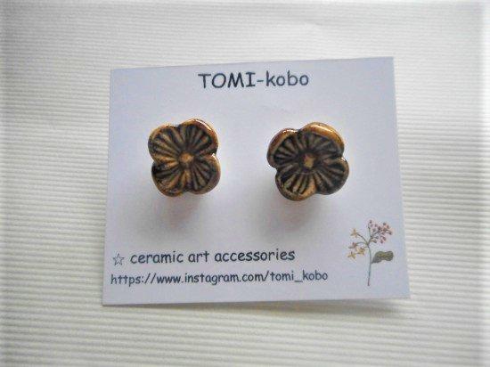 TOMI-kobo お花のピアス(濃あめ)