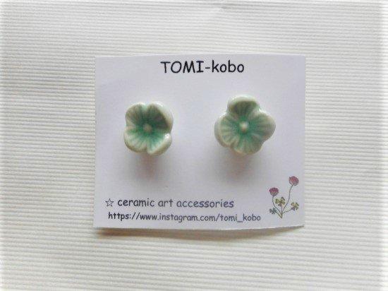 TOMI-kobo お花のピアス(緑)