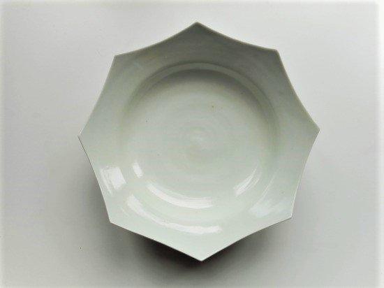 文吉窯 8寸八角深皿 白磁