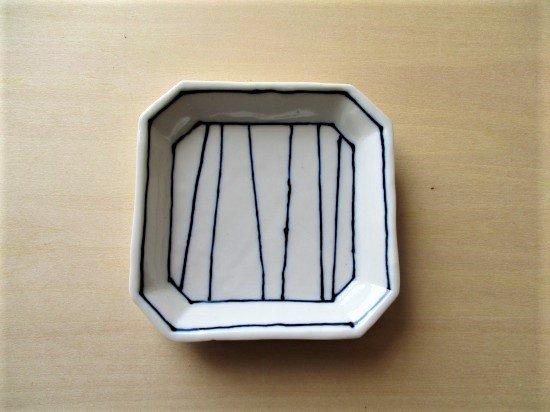 百々堂磁器製造所 磁器染付角小皿(Dーイ)