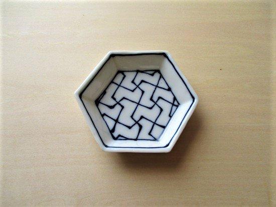 百々堂磁器製造所 磁器染付六角小皿(Hーイ)