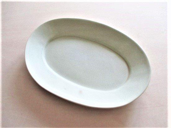 長浜由起子(やぶから房)作 オーバル皿(モスグリーン)
