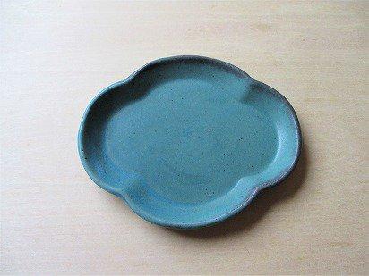 山本たろう(魚雲窯) 木瓜豆皿 (陶器・トルコ)