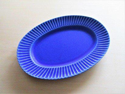 作山窯 Stripe オーバルプレート (マリンブルー)