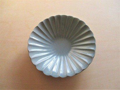 利休青の輪花浅鉢(6寸)