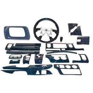 ハイエース 200系 標準 1型 2型 3型   黒木目 インテリアパネル.ステアリング・シフトノブ3点セット