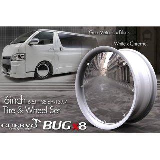 送料無料タイヤ ホイール 4本セットCUERVO BUGx8 クエルボバグエイト ハイエース用 16x6.5J+38 6H-139.7  ホワイト×クローム
