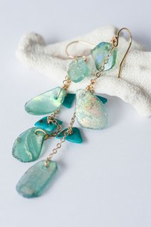 Roman glass chain earrings