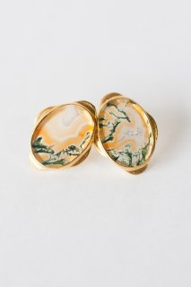 Graphical stud earrings Orange Moss Agate