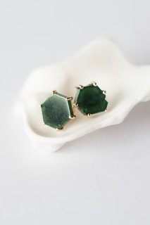 Spiderweb stud earrings with green tourmaline crystal