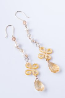 Asian knot shell x Citrine earrings