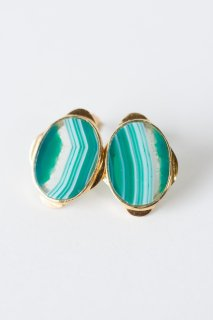 Graphical stud earrings Green Agate