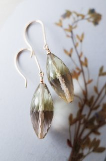 Lemon quartz x Smokey quartz short earrings