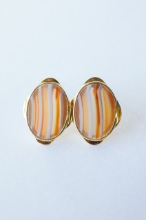 Graphical stud earrings Orange agate