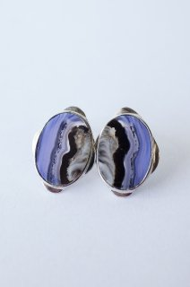 Graphical stud earrings Blue Agate