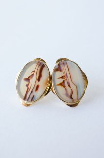 Graphical stud earrings Landscape Agate 1