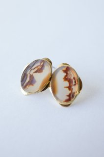 Graphical stud earrings Landscape Agate 2