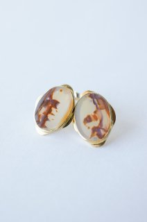 Graphical stud earrings Landscape Agate 3