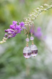 Amethyst x Quartz tumble short earrings K10