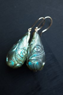 Carving Labradorite drop earrings