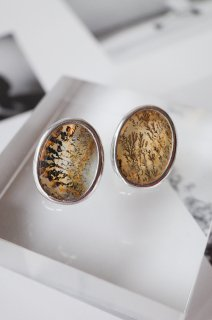Dendritic Quartz stud earrings OVAL 3