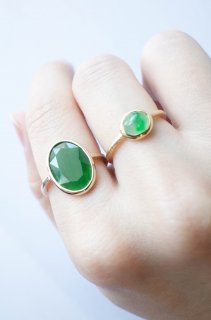Faceted jadeite oval ring