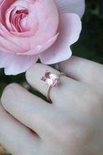 Bicolour Tourmaline Ring  Pink x Clear