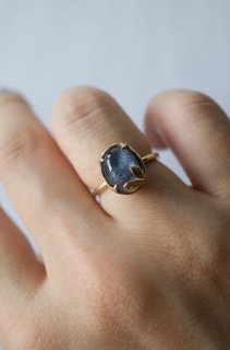 Dumortierite in quartz  Sprout Ring  K10