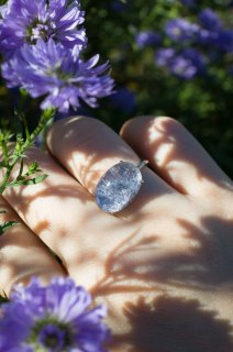 Dumortierite in quartz Ring K10WG