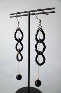 Onyx Mystery Chain Earrings