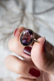 Goethite in Amethyst Ring