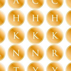 ALPHABET MARK CIRCLE (アルファベットマーク サークル・メタリックゴールド)