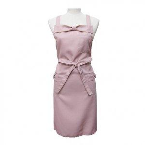 フロントリボンエプロン(ピンク)/ シワになりにくい カフェ サロン 料理教室