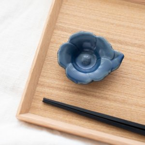 瀬戸焼花型豆皿(ネイビー)