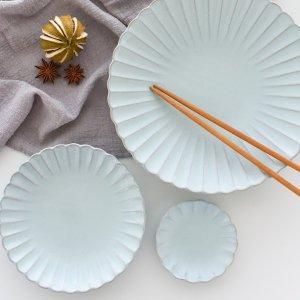 瀬戸焼菊皿(ライトブルー)