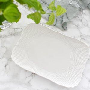 リズ長方形プレート/白磁 白い食器 無地 ポーセリンアート