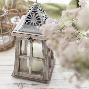 ウッドアンティークグレーランタン/  ろうそく立て 木製 ガラス  雑貨