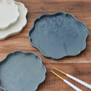 輪花プレート(ブルー)/食器 お皿 和皿 おしゃれ