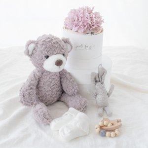 ダイパーケーキ&おくるみ&おもちゃ&ベアーぬいぐるみセット(ピンク)/出産祝い