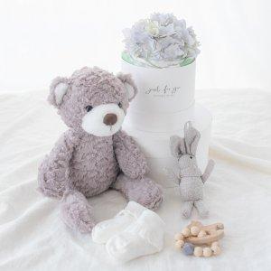 ダイパーケーキ&おくるみ&おもちゃ&ベアーぬいぐるみセット(ブルー)/出産祝い