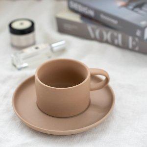 スモーキーカラーカップ&ソーサー(ブラウン)/食器 おしゃれ コーヒーカップ