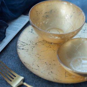ターキーガラスプレート(ゴールド)/食器 皿 おしゃれ 華やか