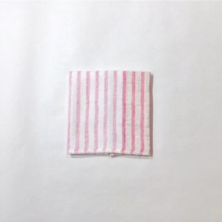 リネンボーダー ミニタオル(ピンク)