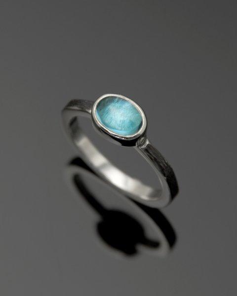 2019 SILVER PERSPIRATION<br>Blue topaz silver ring LLR-007btp<br>