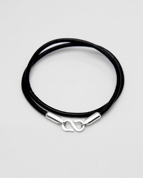 Aug. 2020 Leaves Strength <br>Silver×Leather bracelet LLB-008B<br>